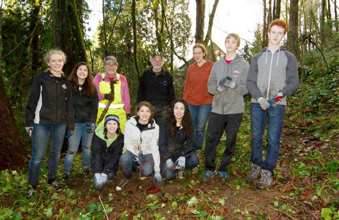Group of volunteers in the forest